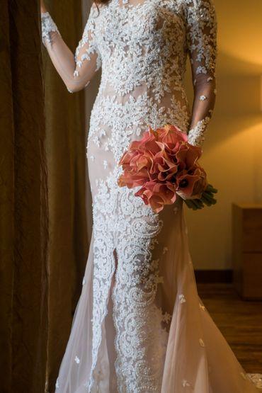 Orange calla wedding bouquet