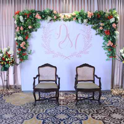 White wedding photo session decor