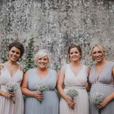 Ivory outdoor bridesmaids