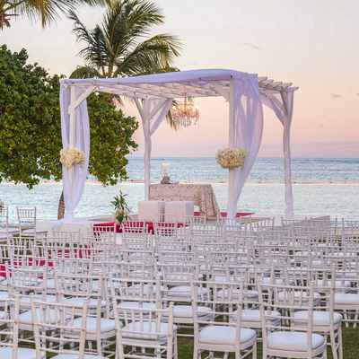 White beach wedding ceremony decor