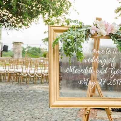 White outdoor wedding floral decor