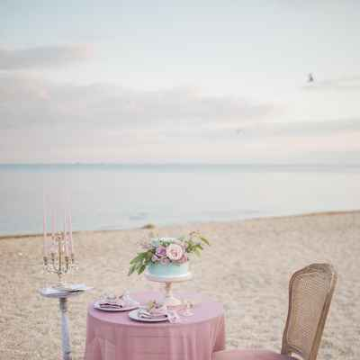 Brown beach wedding photo session decor