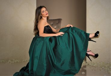 Green long wedding dresses
