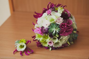 Pink eustoma wedding bouquet