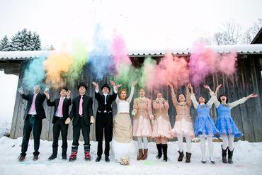 English winter wedding guests