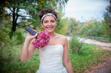 Pink carnation wedding bouquet