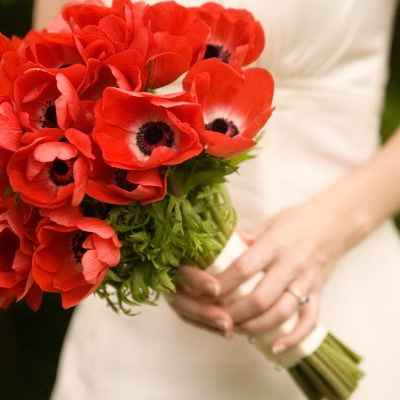 Red anemone wedding bouquet