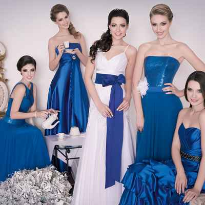 Marine blue bridesmaids