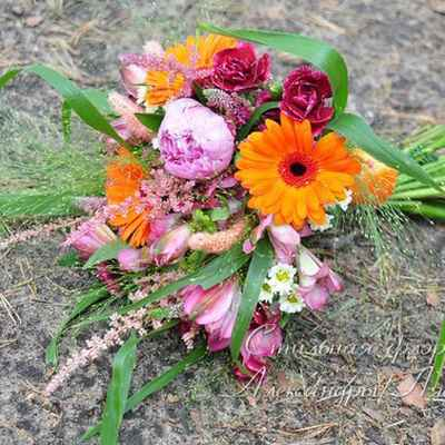 Autumn pink alstroemeria wedding bouquet