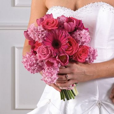 Pink gerbera wedding bouquet